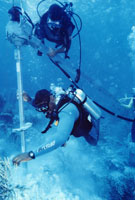 Underwater helix anchor installation in Bonaire